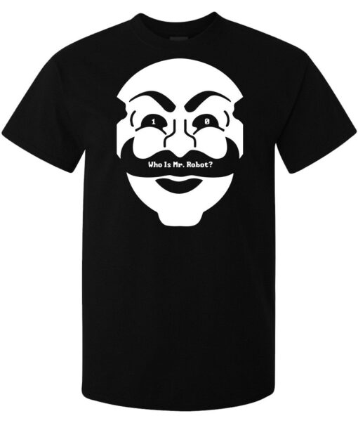 10 Who Is Mr. Robot Mask Ciberarte Elliot Hackers Tv Series Tee Men Black T Shirt