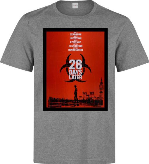 28 Days Later (Available For Women) Men Movie Poster Artwork Gray T Shirt