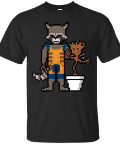 8Bit Rocket and Groot guardians of the galaxy Cotton T-Shirt