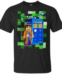 8bit 10th Doctor With time traveler box Cotton T-Shirt