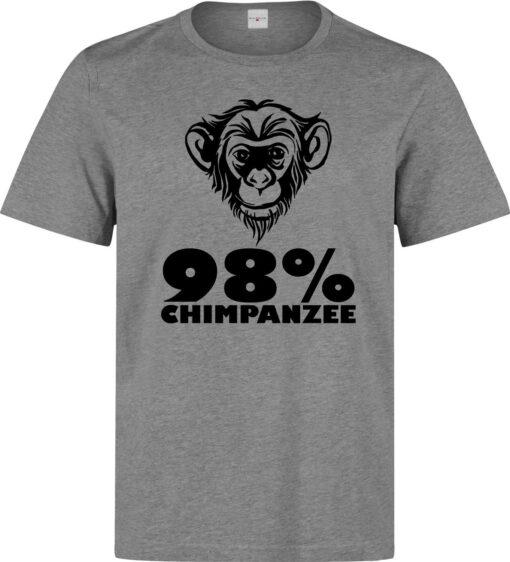 98% Chimp Fun Genetics Motto Men (Women Available) Gray T Shirt