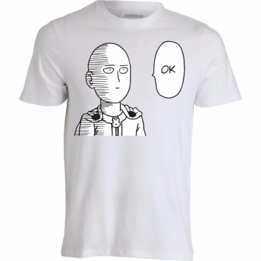 A Man Drilling Sleeve Style Men Swag Well Animated Funny Saitama Dope Top White T Shirt