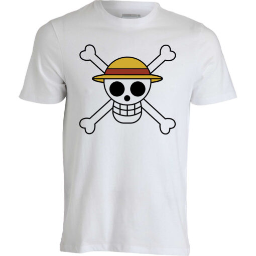 A Piece Of Clothing Flag Straw Hat Luffy Japan Anime Manga White Men T Shirt