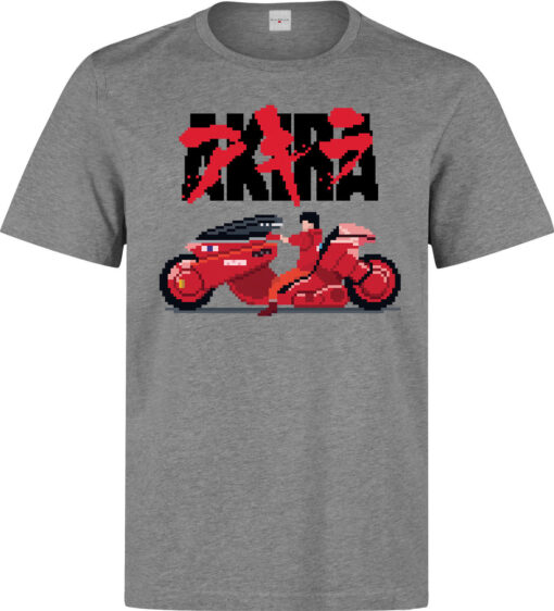 Akira Kineda Bike 8-Bit Pixel Illustrations Men (Available For Women) Gray T Shirt