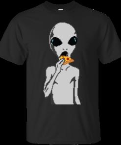 Alien eat pizza meme Cotton T-Shirt