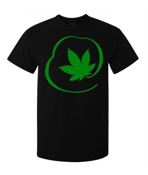 (Available For Women) Men Green Marijuana Weed Black Circle Graphics T Shirt