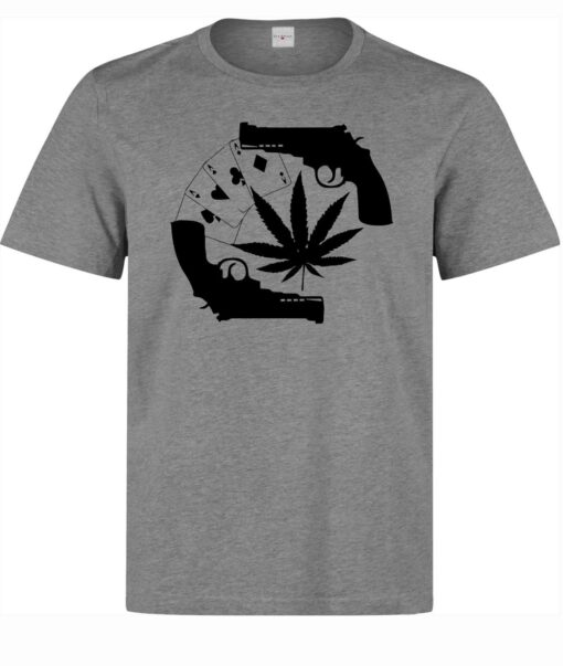 (Available For Women) Pistols Cards & Weed Men'S Gray Graphic Art T Shirt