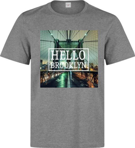 (Available For Women) Quality Gray Slogan Hello Brooklyn Urban Men T Shirt
