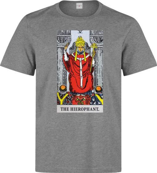 (Available For Women) The Art Hierophant Tarot Card Men Gray Logo T Shirt