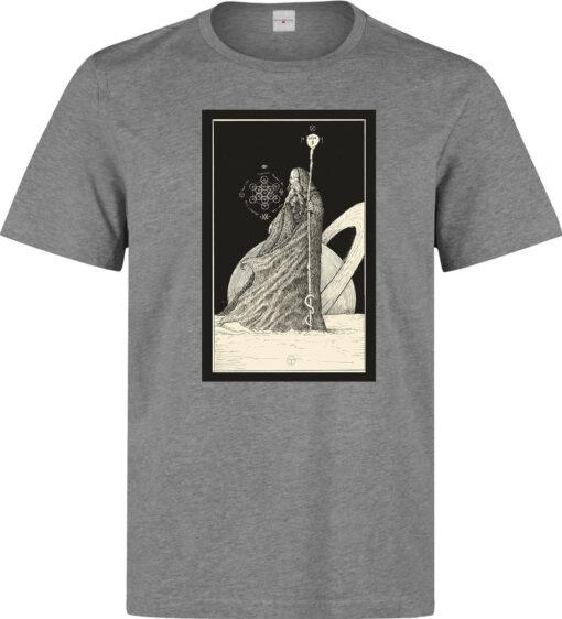 (Available For Women) The Hermit Art Of Tarot Card Men Gray Logo T Shirt