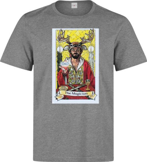 (Available For Women) The Magician Art Of Tarot Card Men Gray Logo T Shirt