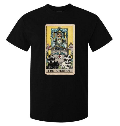 (Available Woman) Black Logo Art Men Chariot Tarot Card T Shirt