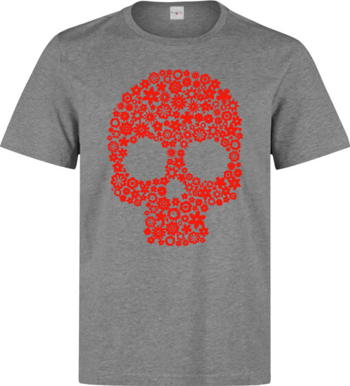(Available Woman) Gray Style Top Quality Men Art Skull With Red Flowers T Shirt