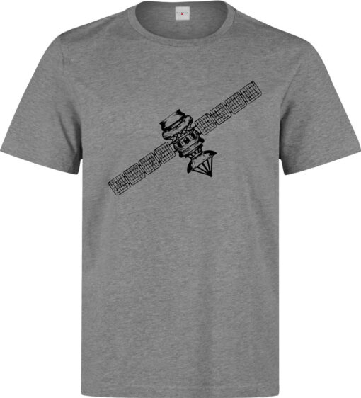 (Available Woman) Top Quality Gray Black Men Graphic Sketch Satellite T Shirt