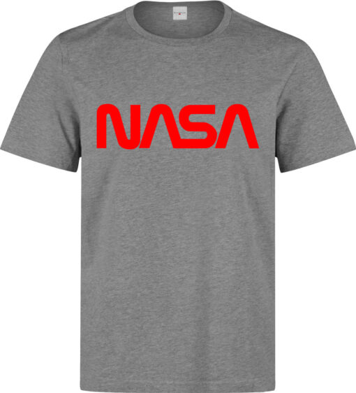 (Available Woman) Top Quality Gray Nasa Logo Red Fonted Men T Shirt
