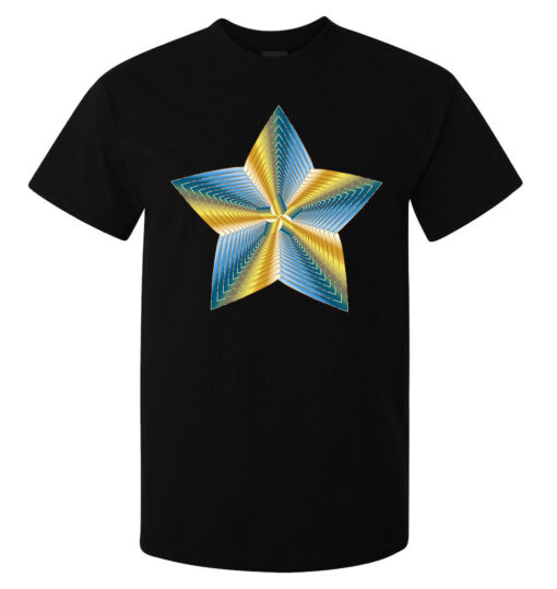 (Available Woman) Zest Black Cosmic Blue And Yellow Illustrations Top Men T Shirt
