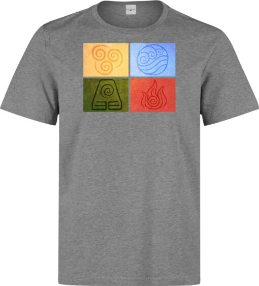 Avatar (Available Women) Of The Last Airbender Men Four Elements Gray T Shirt