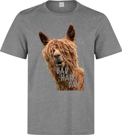Bad Hair Day Funny Lama Art (Available For Women) Top Gray Men T Shirt