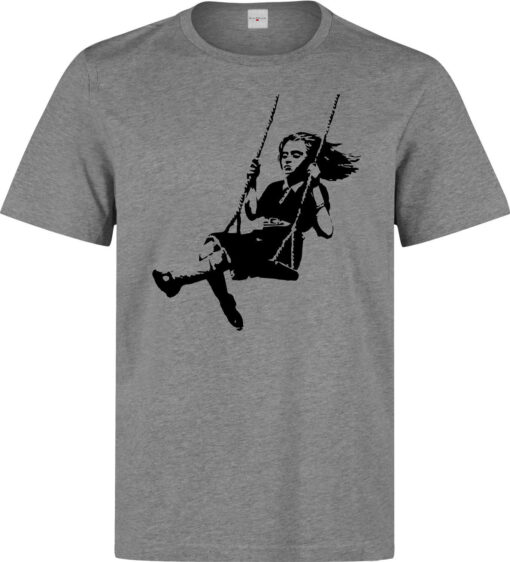 Banksy Street Art Girl On Swings (Available For Women) Gray Camisole Top Men Tag T Shirt