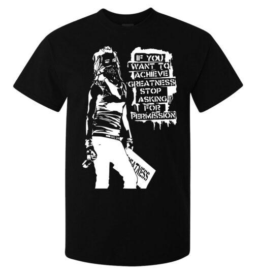 Banksy Street Art Girl Stop Asking Permission From Men Black Top T Shirt