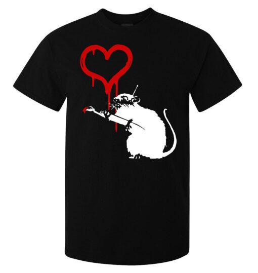 Black Top Banksy Street Art Ratmen Heart Painting (Available For Women) T Shirt