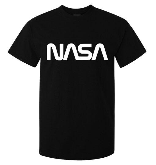 Black Top Quality White Fonted Nasa Logo Men (Available For Women) T Shirt