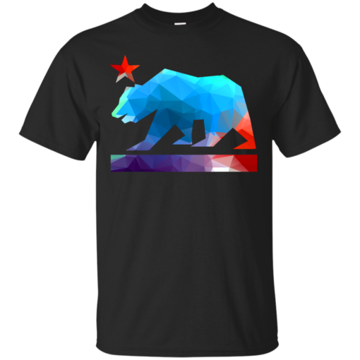 California State Bear fractal colors hip Cotton T-Shirt