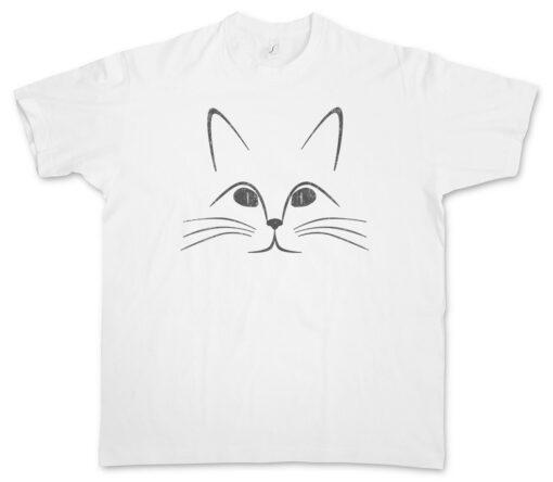Cat Face Fun Tee Cats Katze Katzen Liebe Love Lover Addicted T Shirt