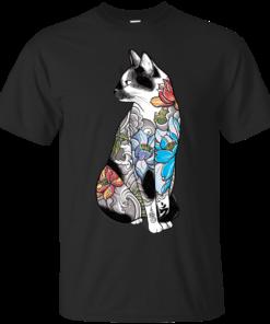 Cat in Lotus Tattoo Cotton T-Shirt