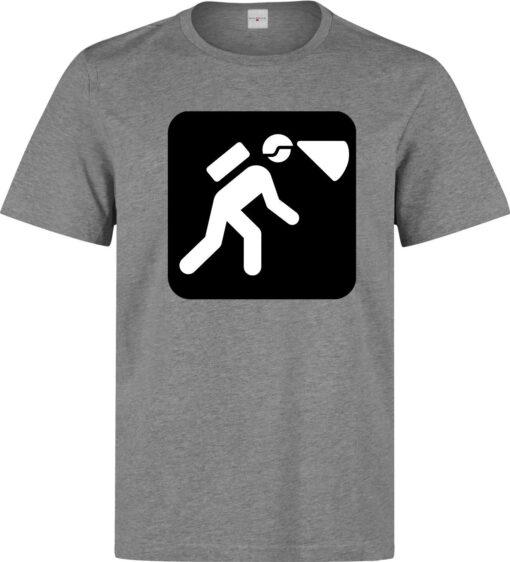 Caving Sport Logo Men Art (Women Available) Gray T Shirt