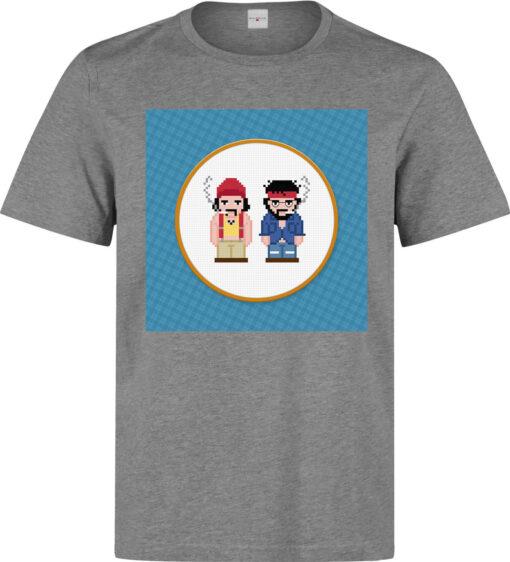Cheech & Chong'S Smoke Up Film Gray Men'S Pixel Art T Shirt
