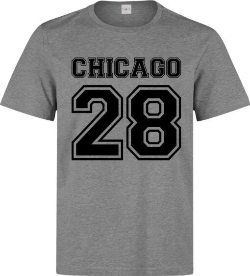 Chicago 28 Number Lema Quality Elegant Men (Women Available) Gray T Shirt