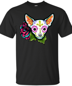 Chihuahua in White Day of the Dead Sugar Skull Dog Cotton T-Shirt