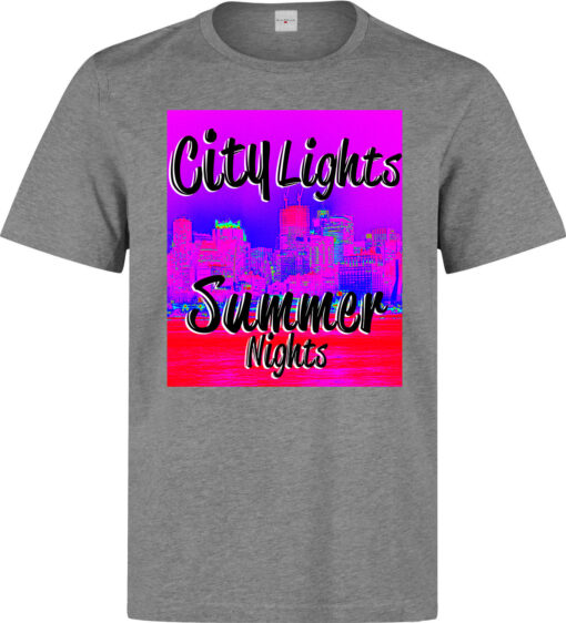 City Lights Summer Nights 80 Men Nonconformist Art (Woman Available) Gray T Shirt