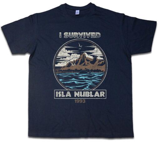Clouded I Survived Island Fun Dinosaur Jurassic Park Tyrannosaurus Rex T T Shirt