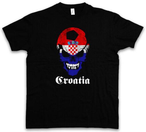 Croatia Football Skull Flag - Fußball Fan Hooligan Flag Croatia T Shirt