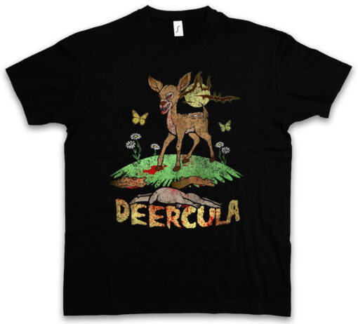 Deercula Deer Dracula Vampire Bat Fun Zombie Blood Splatter Gore Bambi T Shirt