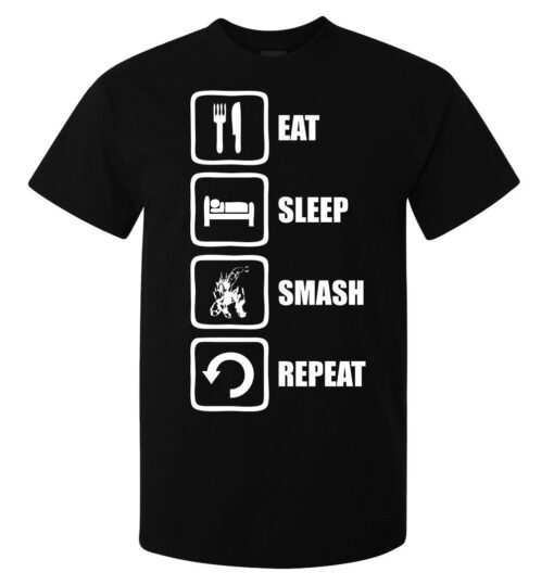 Eat Sleep Repeat All Power Smash Record Top Black Men (Available For Women) T Shirt