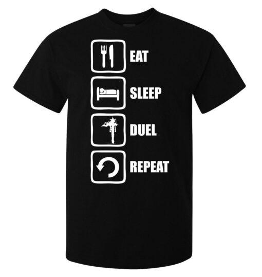 Eat Sleep Repeat Duel (Available Women) Black Yugi Muto Yu Gi Oh Men T Shirt