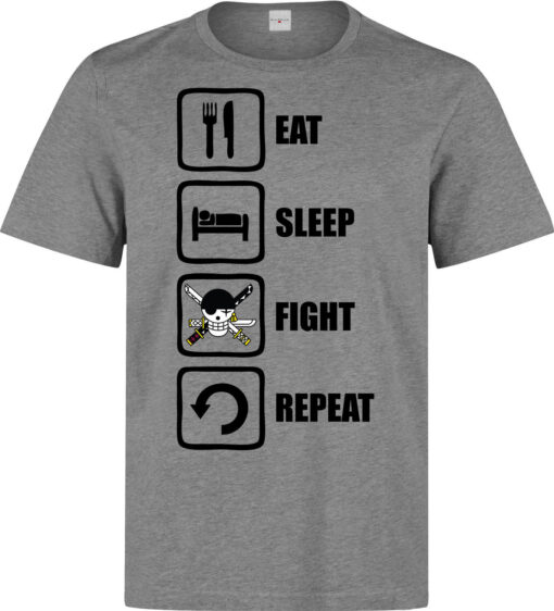 Eat Sleep Repetition Of A Fight Zoro (Available Women) Piece Gray Men T Shirt