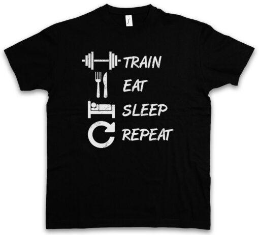 Eat Train Sleep Repeat Hard Curls No Pain No Gain Muscle Fun Fun Gainz T Shirt
