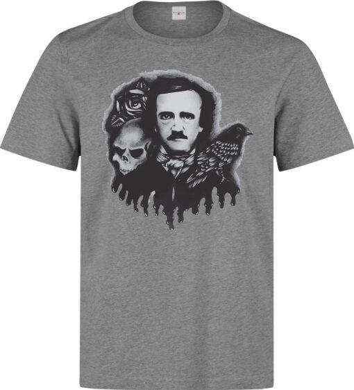 Edgar Allan Poe Famous Writer Gray Men Illustrations (Woman) Available Gray T Shirt