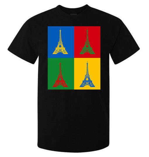 Eiffel Tower With Colorful Pop Art Style Of Men (Women Available) Black T Shirt