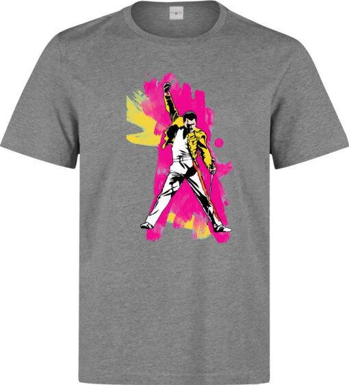 Freddie Mercury Famous British Singer Men Gray Color Illustrations T Shirt