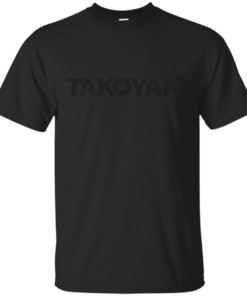 Fried Dough with Octopus takoyaki japanese english black japan Cotton T-Shirt
