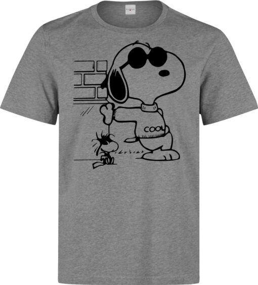 Funny Cool Cartoon Character Snoopy Male (Female Available) Gray T Shirt