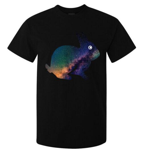 Galaxy Nebula Cosmic Rabbit Styled Men (Women Available) Top Black T Shirt