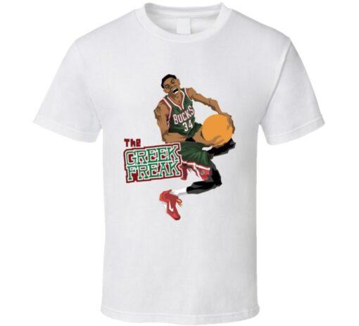 Greek Freak 34 Giannis Antetokounmpo Milwaukee Basketball T Shirt