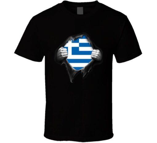 Greek National Flag Superman Cool T Shirt