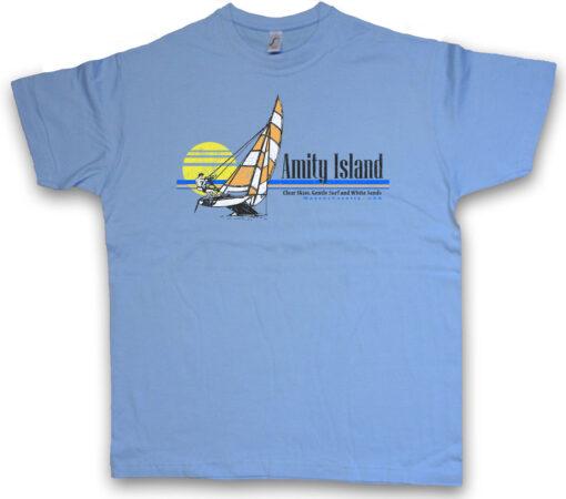 I Amity Island Surf The Great Boat Sand Sky White Ship Surf Shark T Shirt